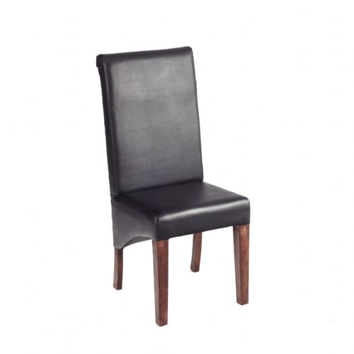 Pair of Leather Dining Chairs - Dark Legs
